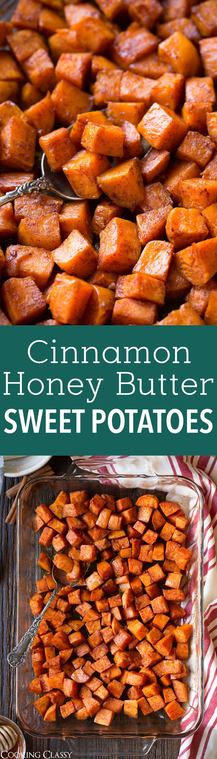 Cinnamon Honey Butter Roasted Sweet Potatoes - only 5 ingredients and so easy! Perfect fall side dish!