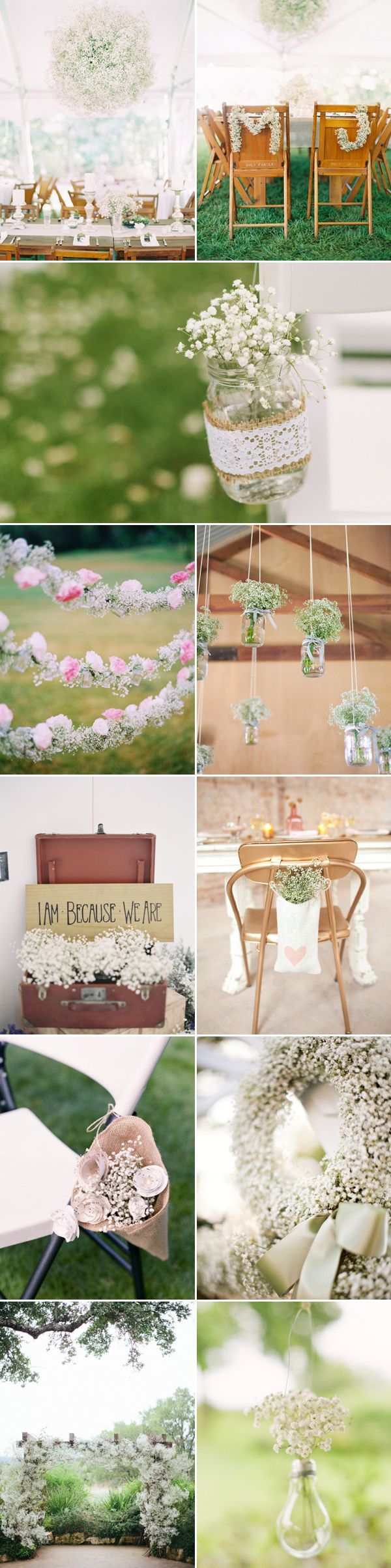 "Delicate, Airy, and dreamy, baby's breath (gypsophila) is no longer just a ""filler flower"", it's been popping up everywhere in weddings, from centerpieces to ceremony decoration, to bridal bouquets.  Baby's breath is budget-friendly, readily-available year-round, long-lasting, and it can be used to match any wedding theme, from a rustic backyard to an elegant ballroom. It …"