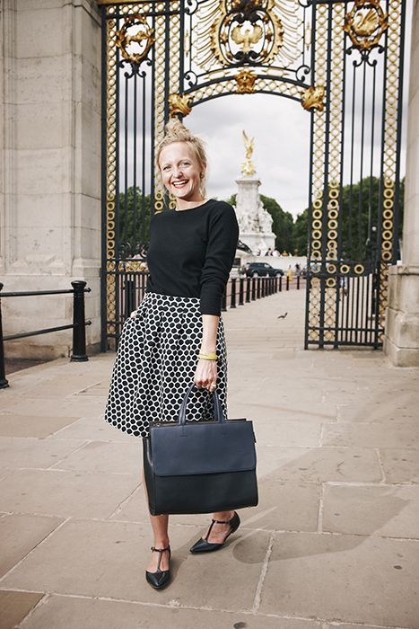 Polly looks cute as a button in our Jersey Jacquard Skirt! Shop with 15% off and free delivery with code PIN1 (UK) or PIN2 (US) #Boden #AW14
