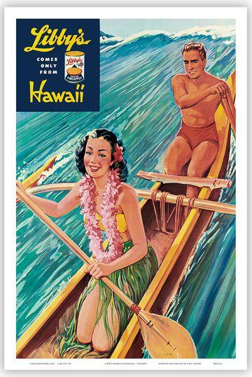 Hawaii Vintage Art Poster Hawaiian Airlines Pacific Map   eBay