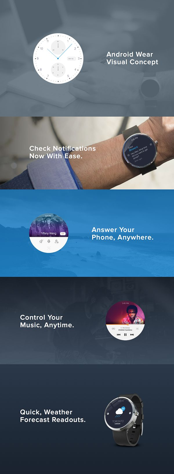 Android Wear Visual Concept by Joseph Barrientos, via Behance