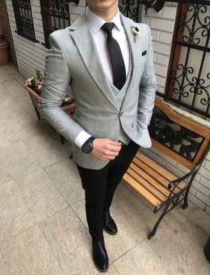 36530a85160c3 Terziademaltun - İtalyan stil ceket yelek pantolon gri kombin erkek takım  elbise T2166 (1)