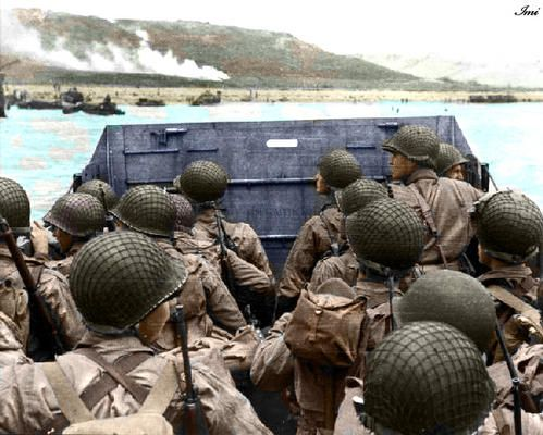 D Day landing on Omaha Beach, Normandy, France. June 1944.  I just can't imagine what was going through the minds of these men...