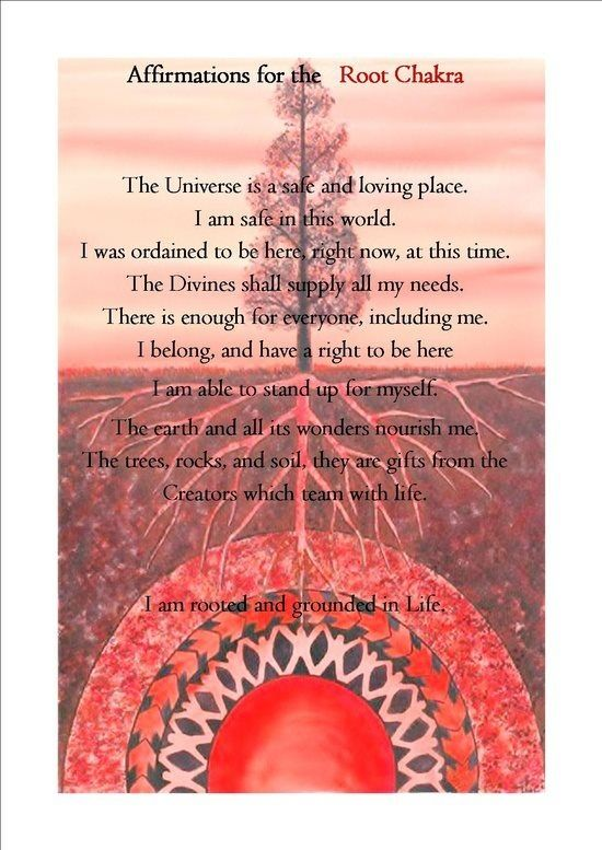 Affirmations for the Root Chakra: http://www.spiritualcoach.com/root-chakra-healing/ #rootchakra #chakrahealing