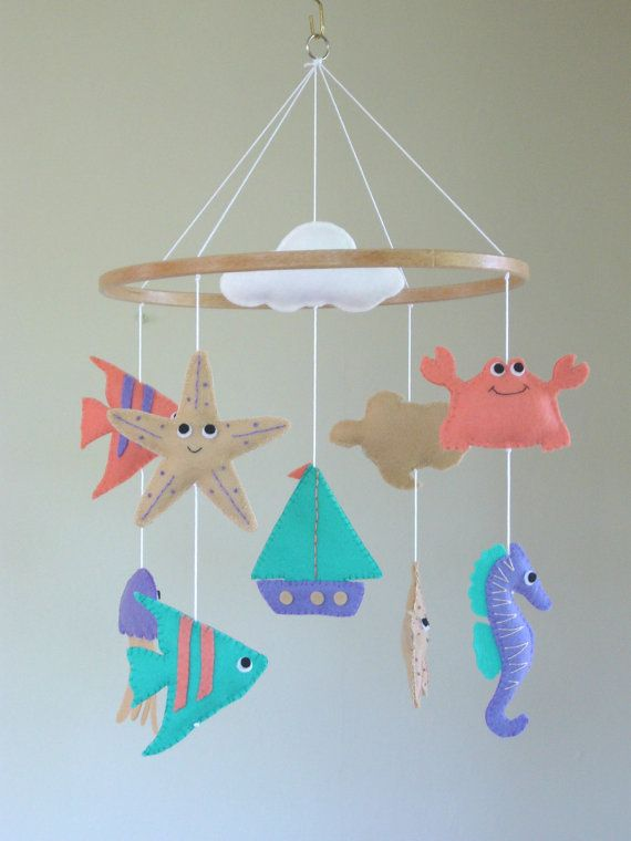 Nautical Baby Mobile Nautical Cot Mobile Ocean by ClooneyCrafts