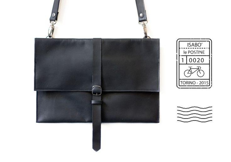 Postina+in+pelle+nera+di+isabo'+borse+in+stoffa+su+DaWanda.com