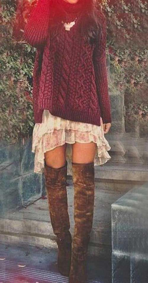 Long sweater paired with short dress #outfit #fashion #womentriangle