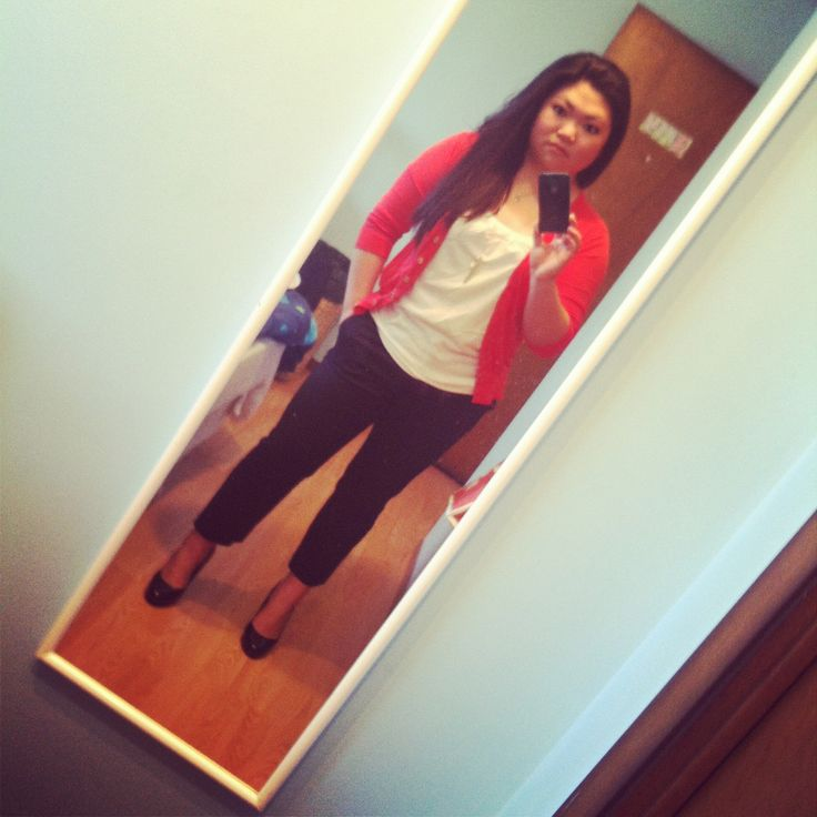 I love a little height added to my wardrobe. My favourite black stilettos with black crop pants, white tank and a orange-red cardi. A great outfit for a casual and semi-formal look