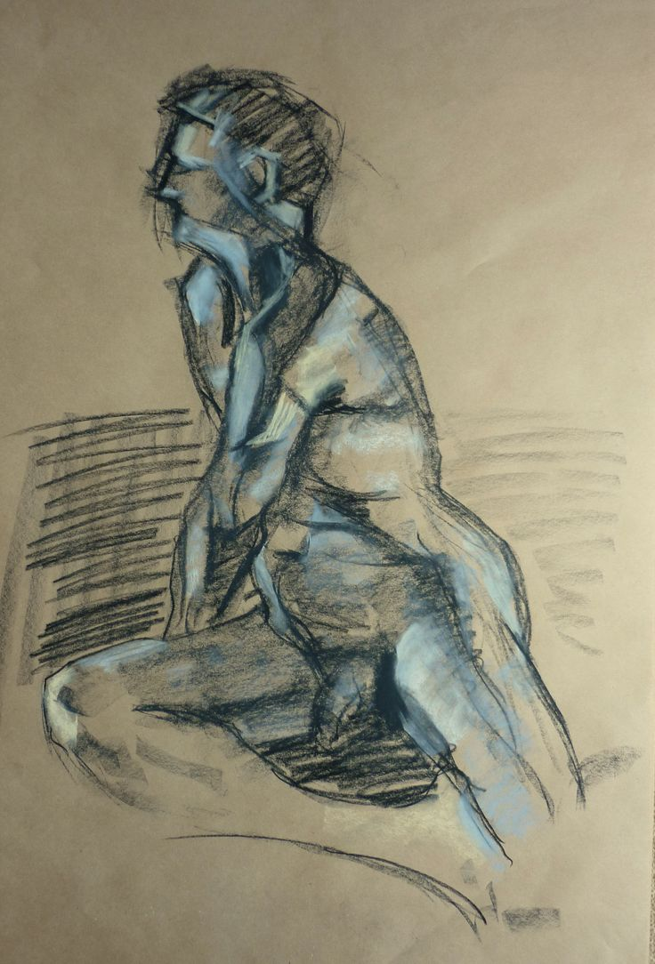 life drawing - Sergio Rigoli □ conte hard pastel blue, naples yellow & compressed charcoal on craft.