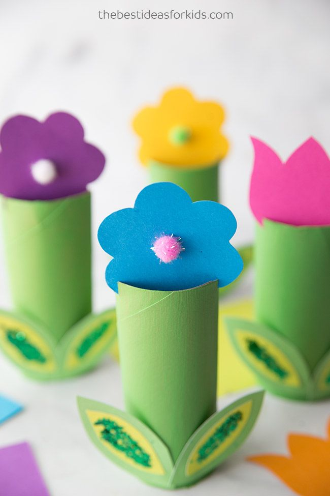 Toilet Paper Roll Flowers Craft Spring Crafts For Kids Flower