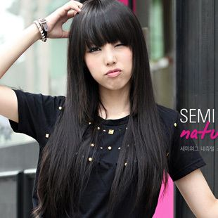 Easyweld Princess Cute Wig Black Long Straight Hair Qi