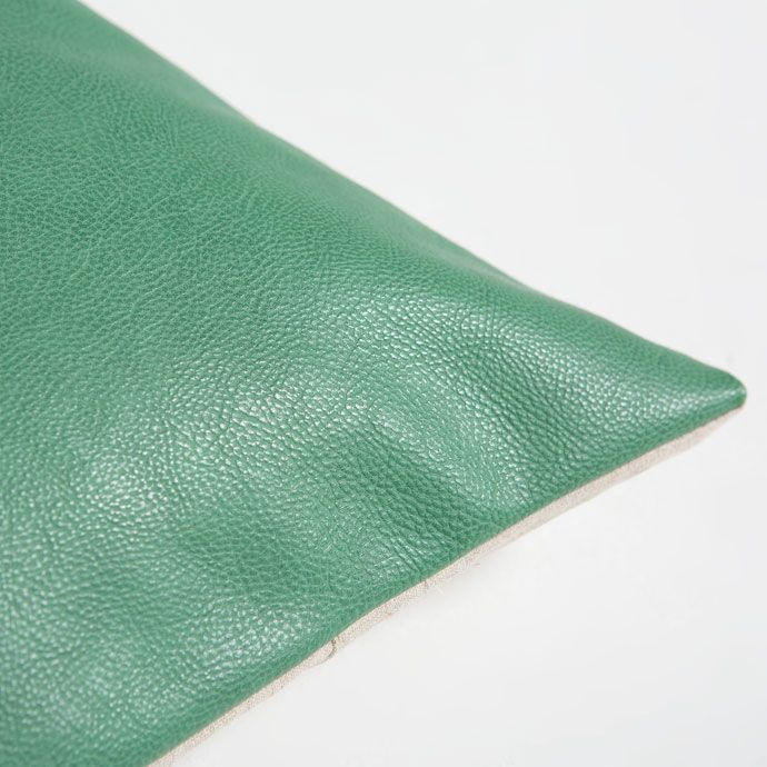 Image 1 of the product Green faux leather plain cushion cover