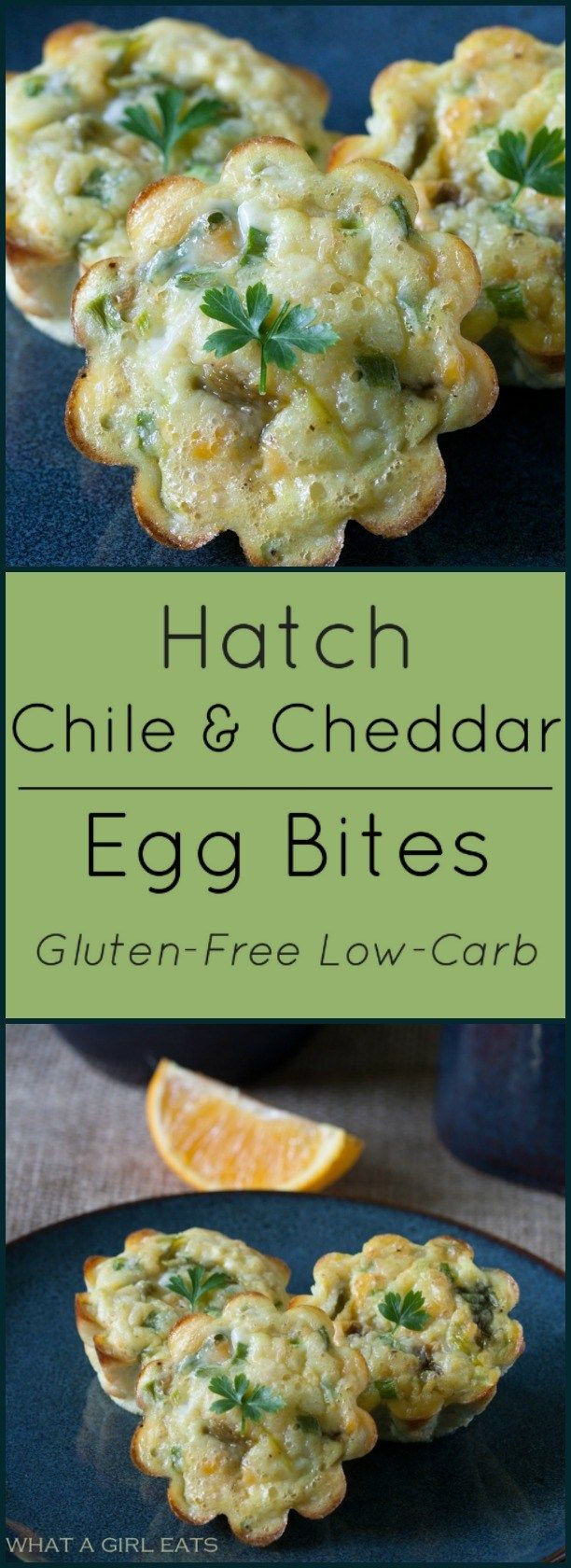 Hatch Chile and Cheddar Egg Bites. Low-carb, gluten free. A perfect quick healthy breakfast.