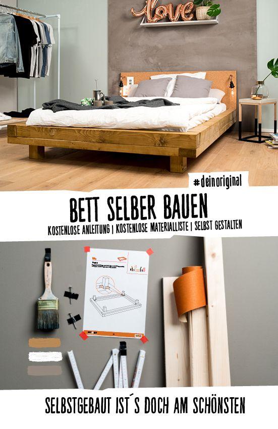 Bett Ludwig Create By Obi Bett Selber Bauen Anleitung Holzbalken Bett Bett Bauen
