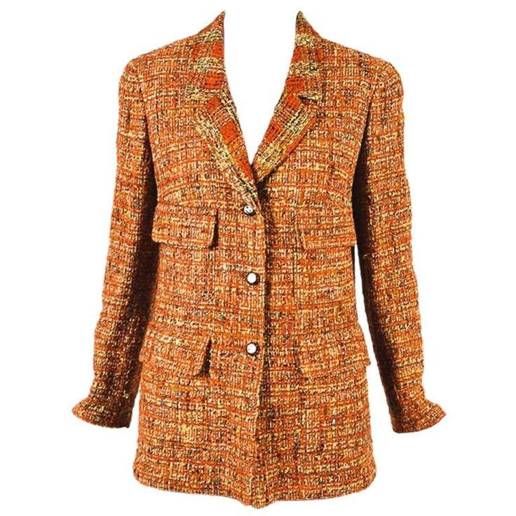 Vintage Chanel Boutique Burnt Orange Multicolor Tweed 'CC' Buttoned Jacket 1975-99