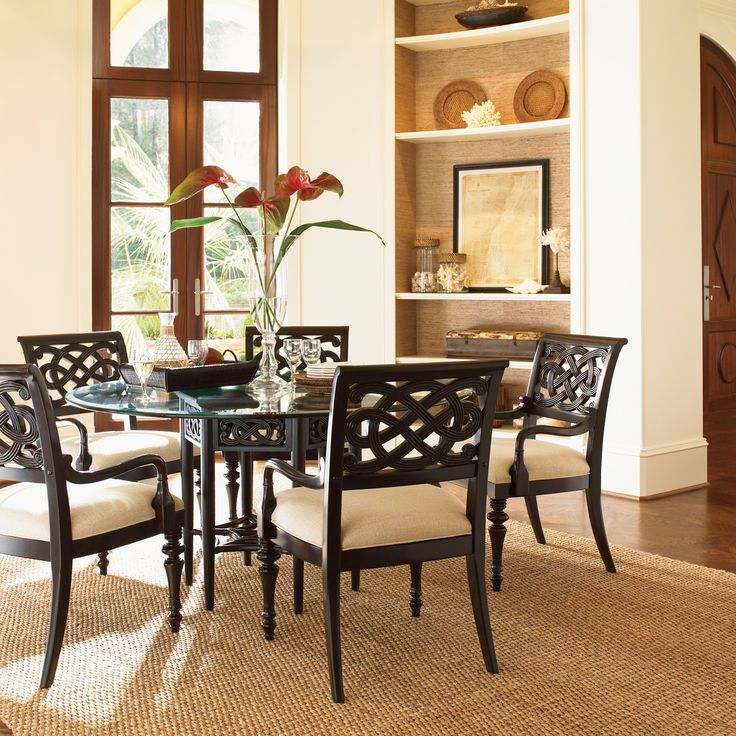 tommy bahama royal kahala 7 piece sugar and lace 60 in glass dining table set