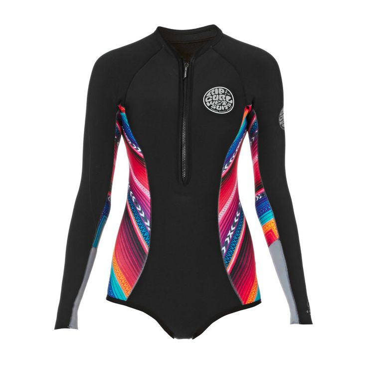 Rip Curl Womens G Bomb 1mm High Cut Sublimated Long Sleeve Shorty Wetsuit - Black/ Grey