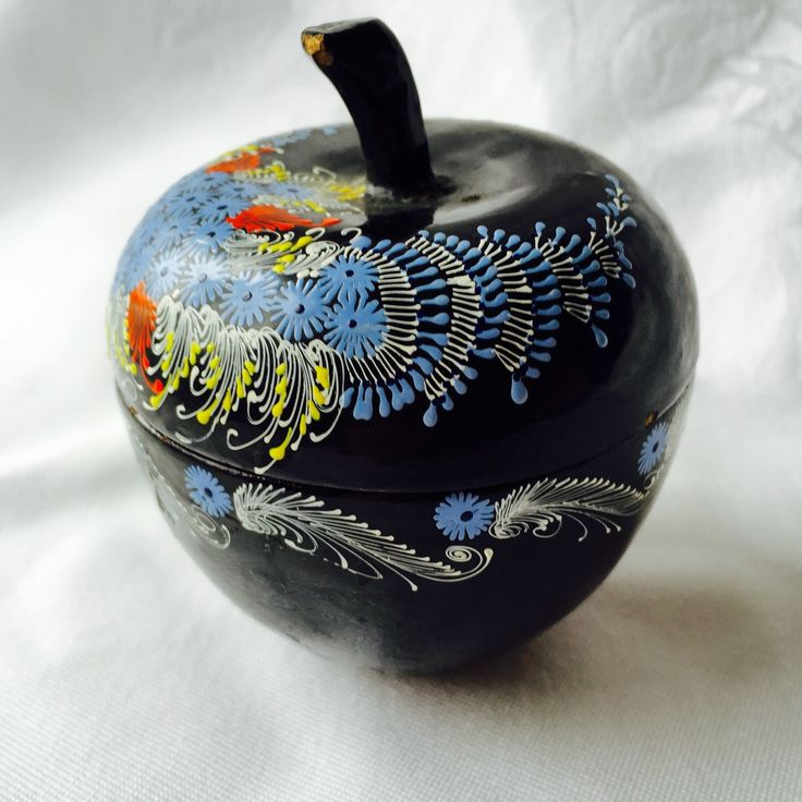 Black Lacquer Apple  Box Japanese Elegant Black and Lacquer Asian Trinket Box Hand Painted blue and white accents by StudioVintage on Etsy