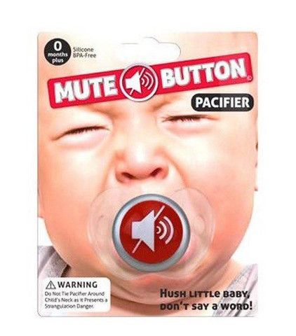 Soothing and hilarious, perfect for any #newparent! Mute Button Pacifier #babygift #canada http://giftideascanada.com/mute-button-pacifier-2/
