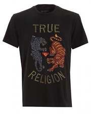 True Religion Jeans Mens Black Panther and Tiger Embroidered T-Shirt in Clothes, Shoes & Accessories, Men's Clothing, T-Shirts | eBay