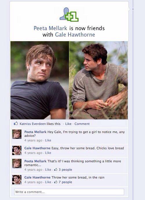 Lol haha funny pics / pictures / Gale / Peeta / Hunger Games Humor / Facebook