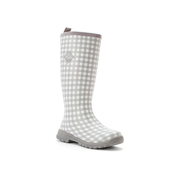 The Original Muck Boot Company Breezy Tall ($135) ❤ liked on Polyvore featuring shoes, boots, gray gingham, women, gray tall boots, grey boots, rubber boots, gray rain boots and grey rain boots