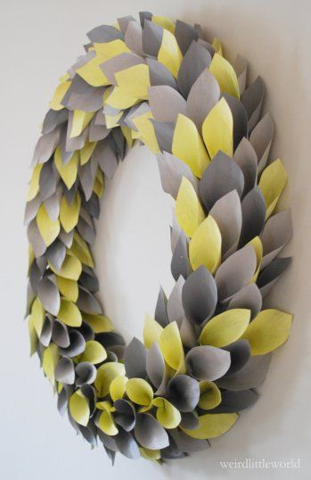 gray and yellow leaf wreath;  yellow and gray fall home decor