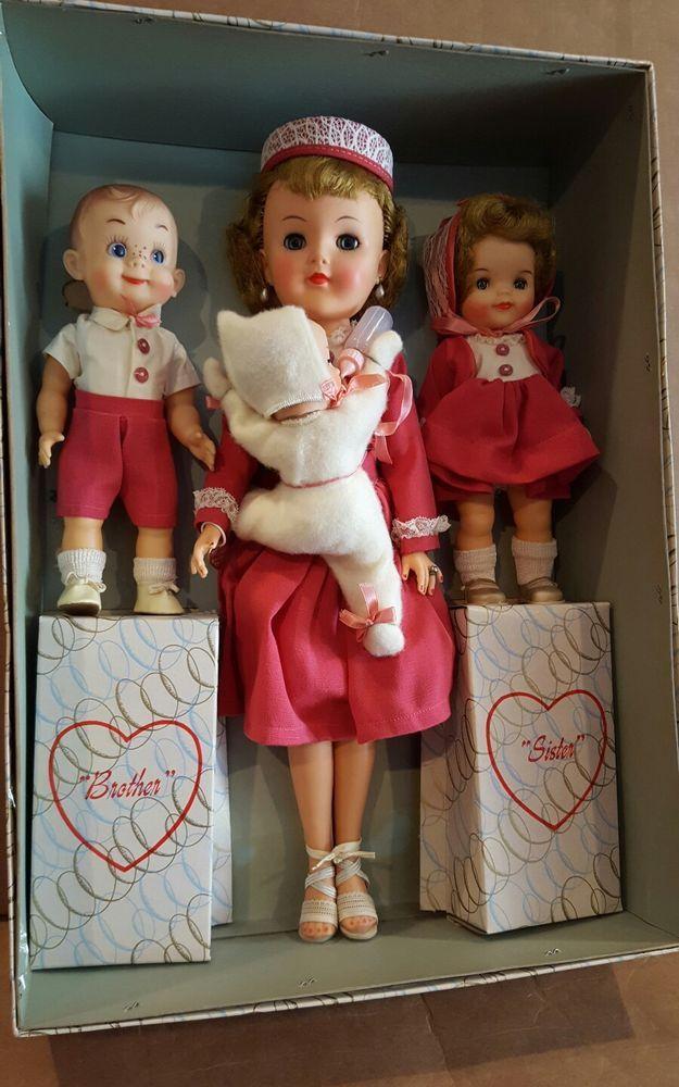 Rare Effanbee 4 dolls Most Happy Family Gift Set w/orig box 1957 #Effanbee #Dolls