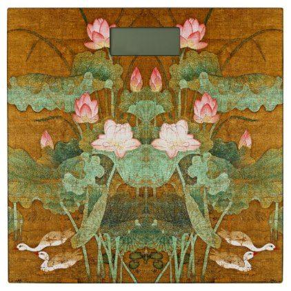 #flower - #Asian Lotus Flower Geese Birds Pond Bathroom Scale