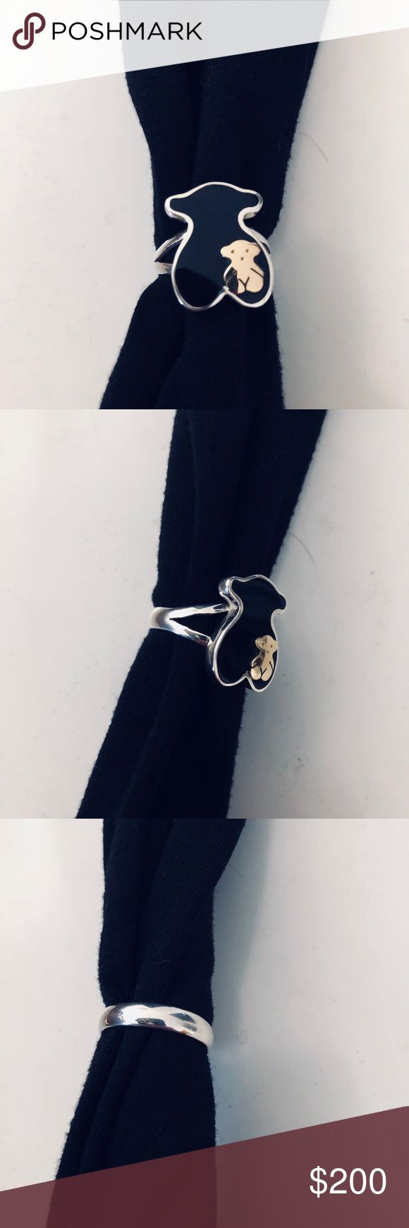 Silver ring 950 Silver ring tiny teddy bear 18k gold and the black teddy bear behind it is black onyx & Other Stories Jewelry Rings