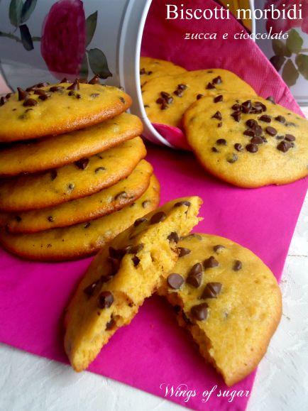 Biscotti morbidi di zucca e gocce di cioccolato ricetta - wings of sugar blog