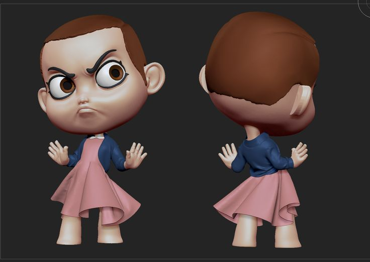Eleven 3d sculpt based on an illustration by Rocio Garcia  https://www.artstation.com/artist/rociogarciaart