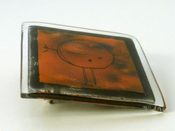 """Broche de vidrio fundido """"nino"""".Hecho a mano.  de BGLASSbcn por DaWanda.com"""