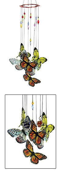 I love love love butterflys!!!  Hand-Painted Butterfly Wind Chime at The Hunger Site