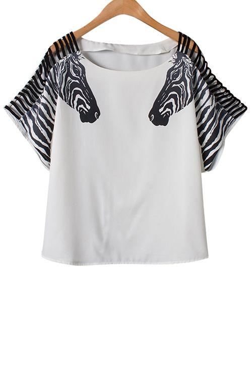 Zebra Print Openwork Short Sleeve T-Shirt: Tees   ZAFUL