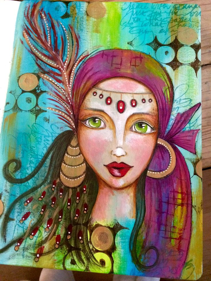 Gypsy girl art journal page