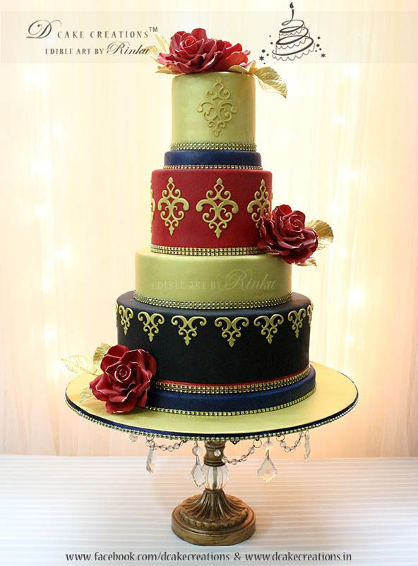 Four Tier Wedding Cake With Sugar Roses Wonderful Cakes