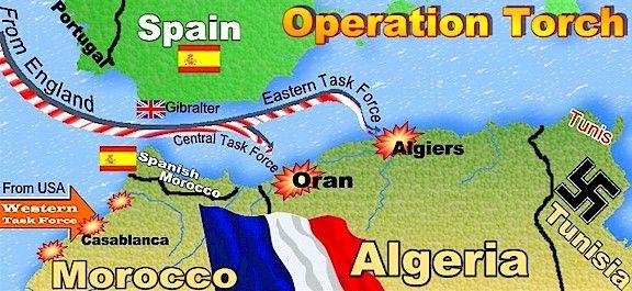 ⌛️ 8 novembre 1942 : Opération Torch (nom de code donné au débarquement des Alliés en Afrique française du Nord (protectorat du Maroc et départements français d'Algérie). Ce débarquement marque le tournant de la Seconde Guerre mondiale sur le front occidental, conjointement avec les victoires britanniques d'El Alamein et soviétique de Stalingrad).