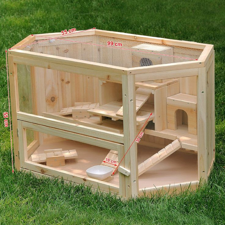 Songmics XL Wooden Hamster Cage Guinea Rodent House Mice Cage 99 x 55 x 55 cm PHC003: Amazon.co.uk: Pet Supplies