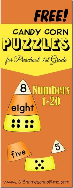 FREE Candy Corn Math Puzzles
