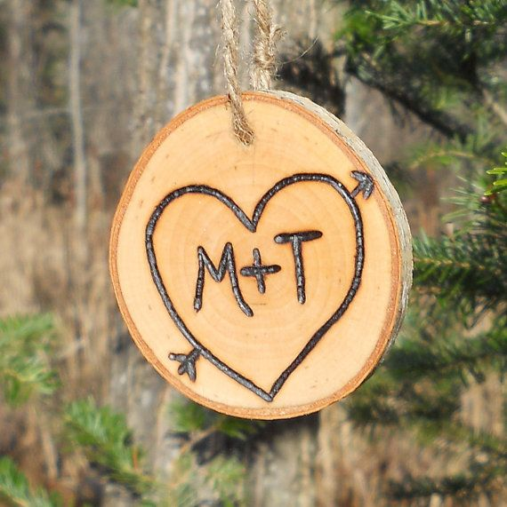 First Christmas Ornament Personalized Couples Wedding Gift  Rustic Wood Branch Ornament. $10.00, via Etsy.
