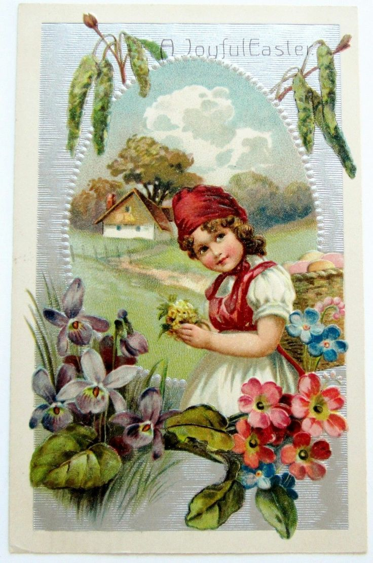 Easter PFB Pretty Country Girl in Red Hat Postcard Emb Silver   eBay