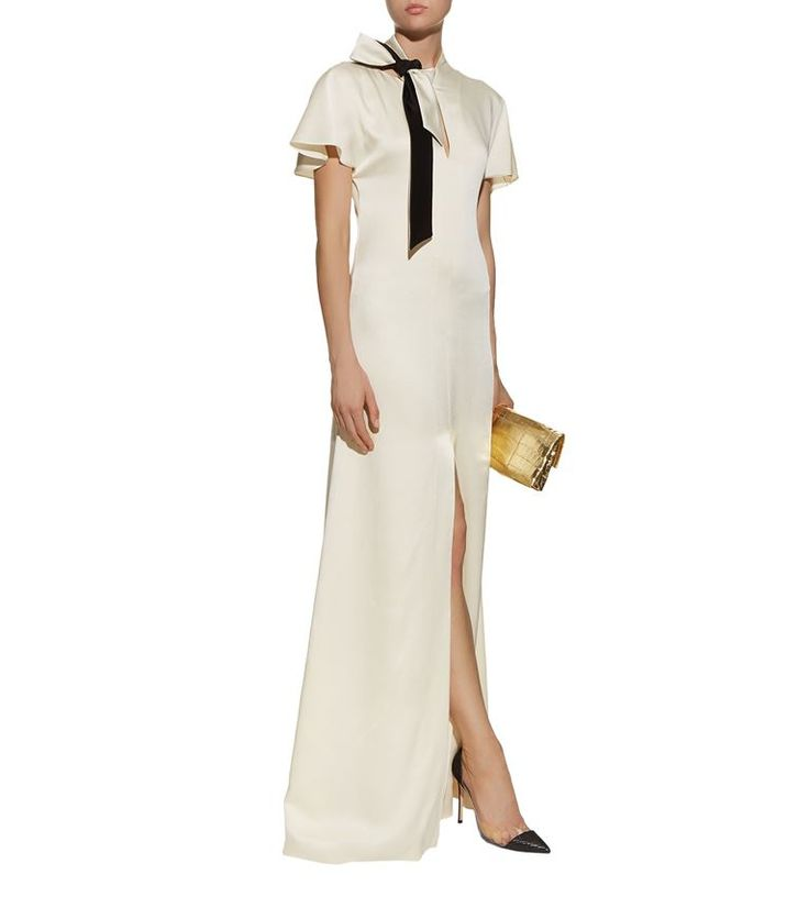 Women: Gowns Lanvin Tie Neck Satin Gown
