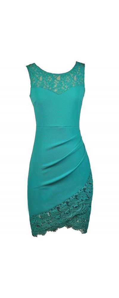 Lily Boutique Lace Trim Pencil Dress with Crossover Hem in Jade, $32 Teal Lace Dress, Cute Teal Dress, Teal Party Dress, Teal Cocktail Dress, Turquoise Lace Dress www.lilyboutique.com