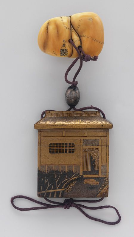 Case (Inrō) Shaped as a House with Design of Window, Fence, Flowers, Edo period (1615–1868), 18th–19th century, Lacquer, fundame, nashiji, gold, black and silver hiramakie; Interior: nashiji and fundame, H. 5.7; W. 4.8; D.1.5 ©The Metropolitan Museum of Art
