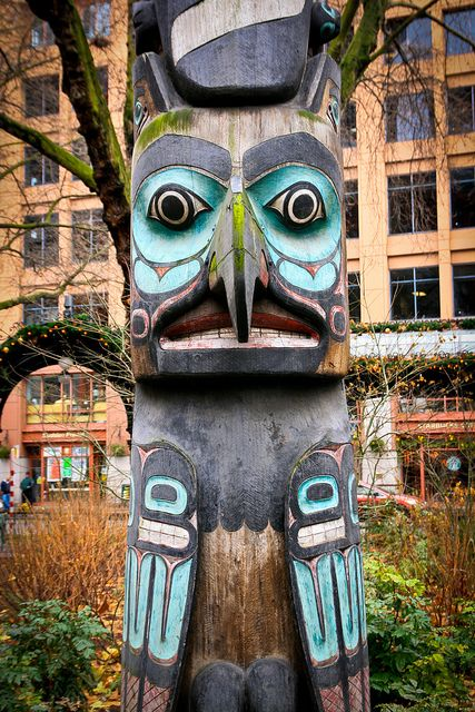 Native American carving in Pioneer Square in Seattle ...