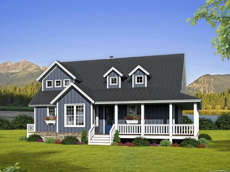 062h 0132 Two Story Country House Plan With Wrap Around Porch House Plans Farmhouse Porch House Plans Country House Plans