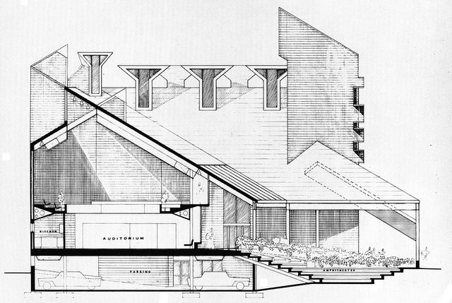 Paul Rudolf, First Church of Boston - Proposed Building Section by kelviin, via Flickr