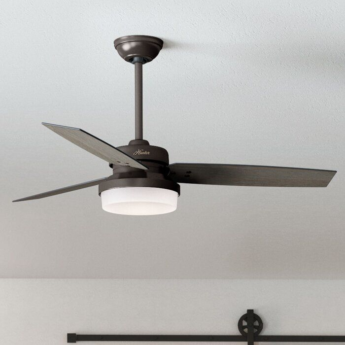 52 Sentinel 3 Blade Standard Ceiling Fan With Remote Control And Light Kit Included Ceiling Fan Fan Light Led Ceiling Fan