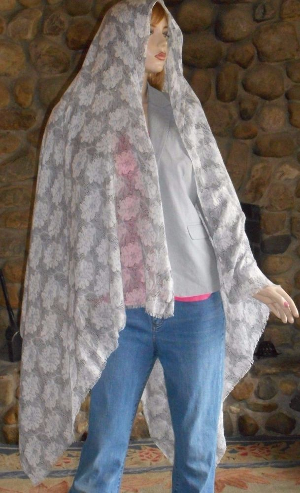 Unbranded Huge Gray Unique Print Woven Scarf ~ Wrap ~ Sarong #Unbranded #Scarf